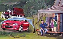 Wall Mural - Car and people.